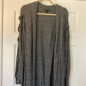 Torrid Grey Knit Cardigan with Laced Sleeves